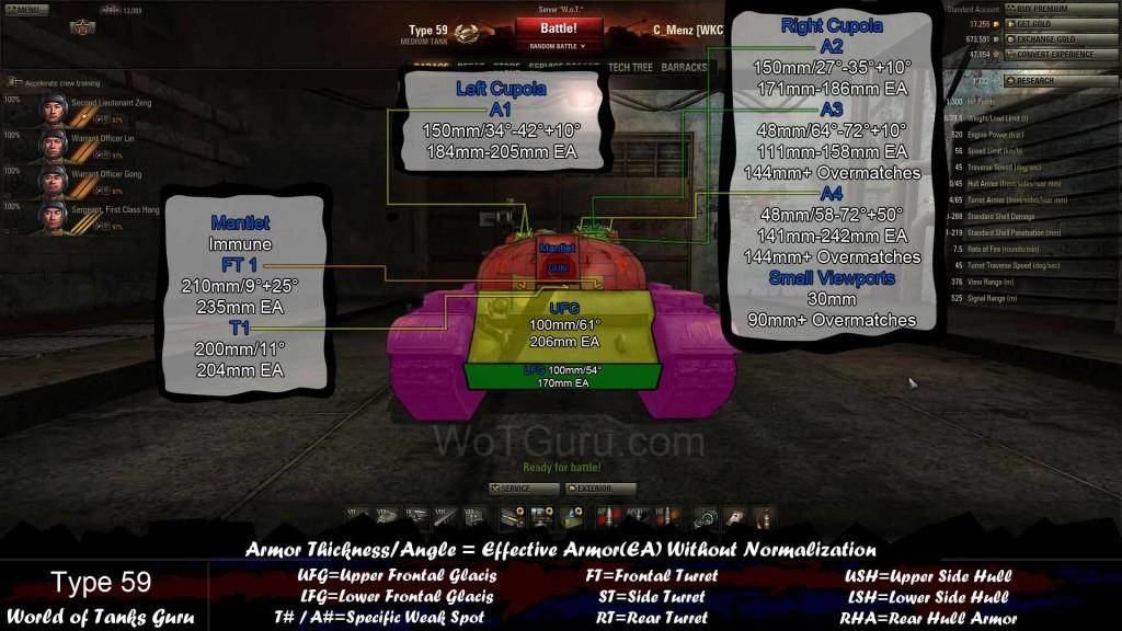 Weak Spots Guide: Type 59 - World of Tanks Guru