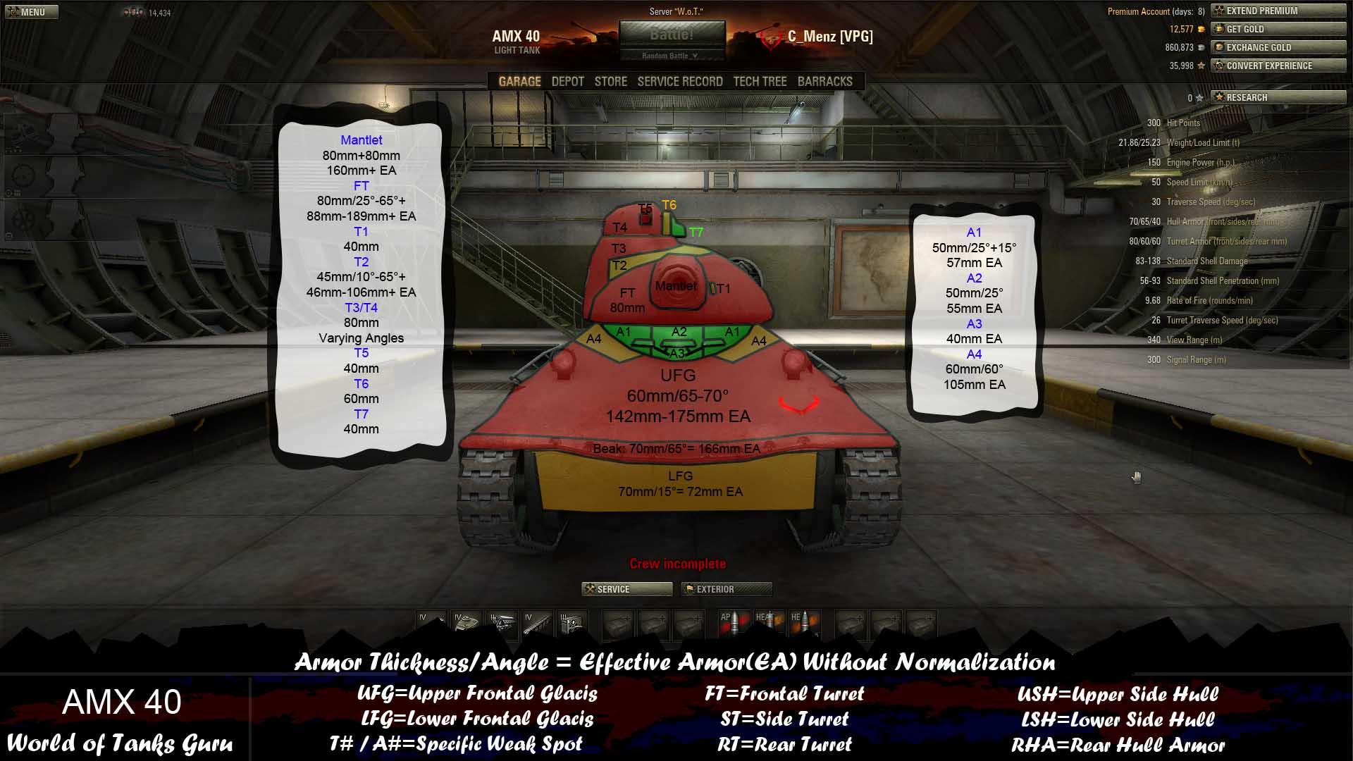 Weak Spot Guide: AMX 40 - World of Tanks Guru