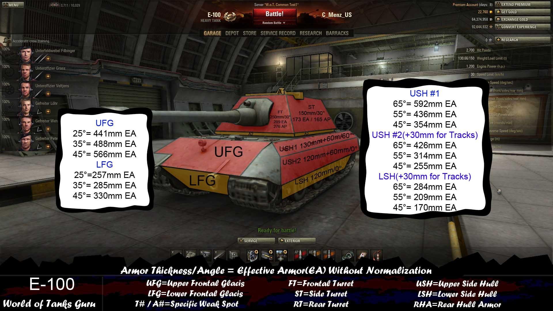 World of Tanks E100 Weak Spots
