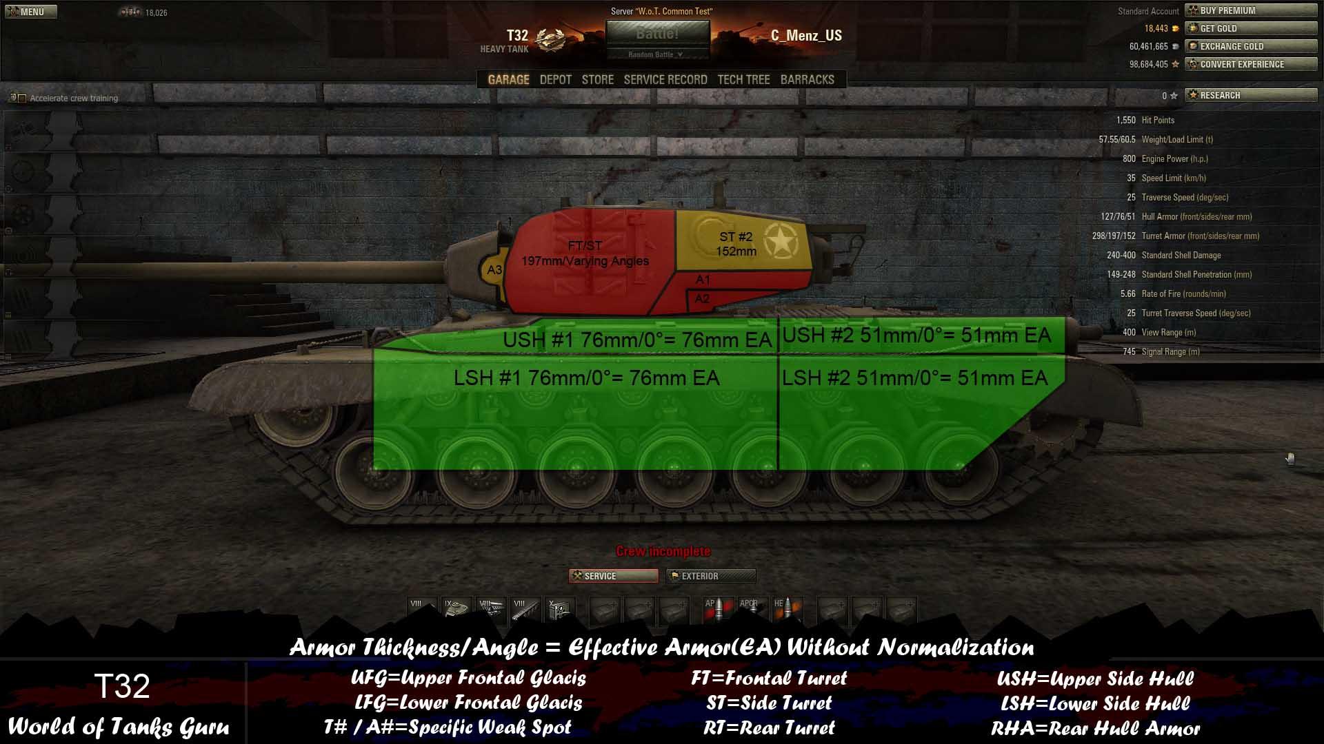 Weak Spot Guide: T32 - World of Tanks Guru