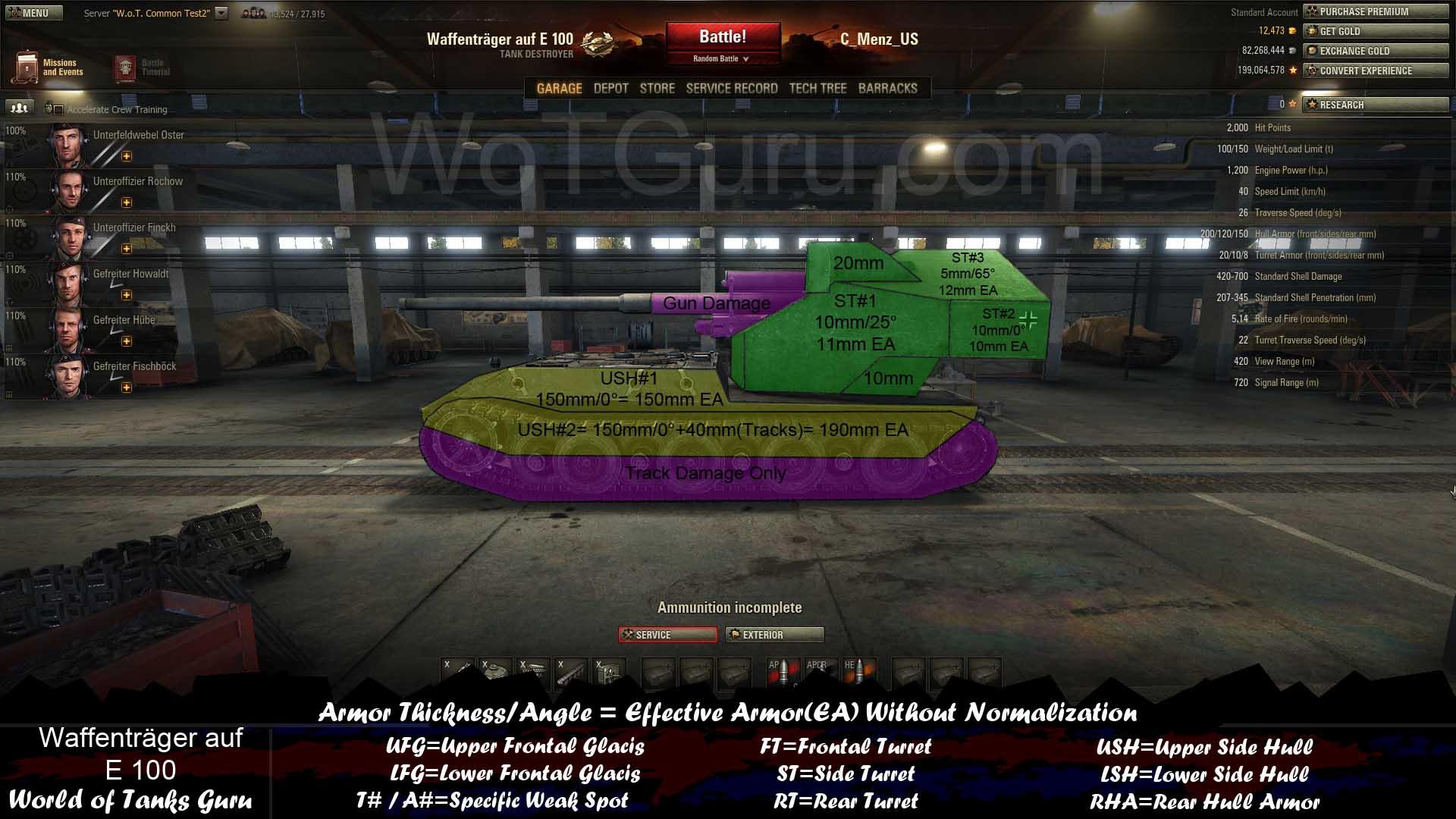 Weak Spot Guide: Waffenträger Auf E100 - WoT Guru