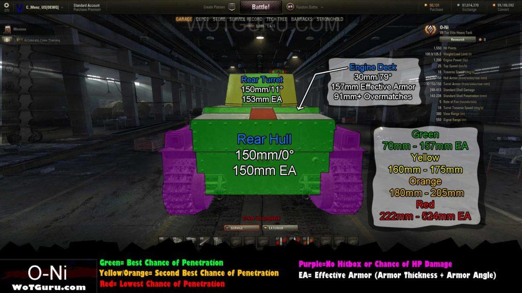 World of Tanks O-Ni Weak Spots | Rear