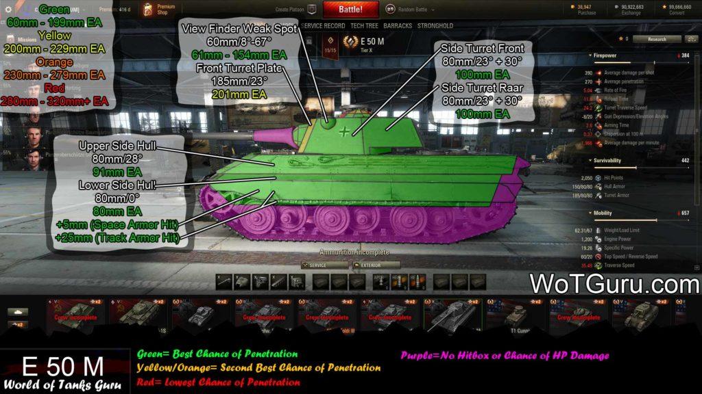 World of Tanks E50M Weak Spots Side View
