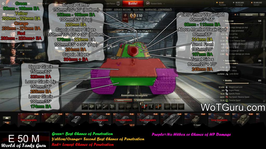 World of Tanks E50 Weak Spots Frontal View
