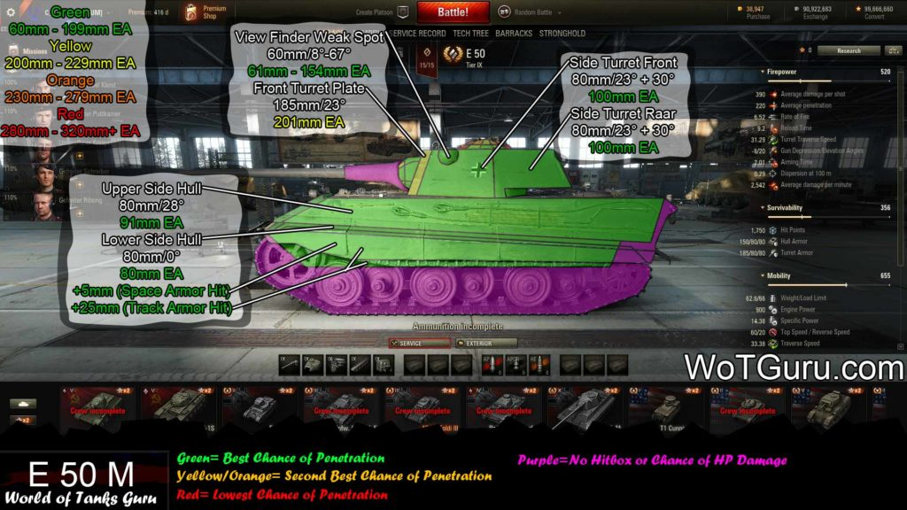 World of Tanks E50 Weak Spots Side View