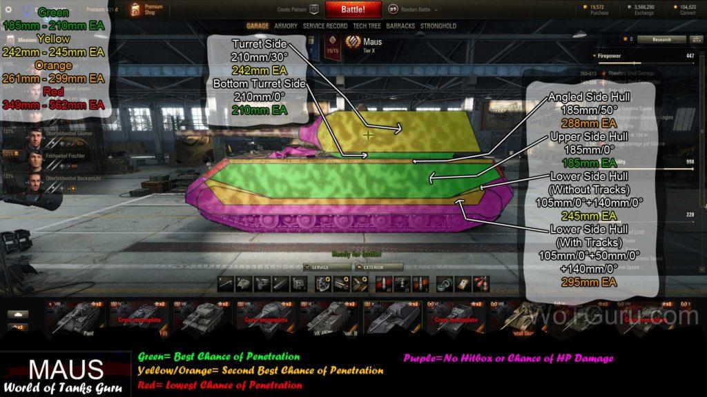 World of Tanks Maus Weak Spots Side View