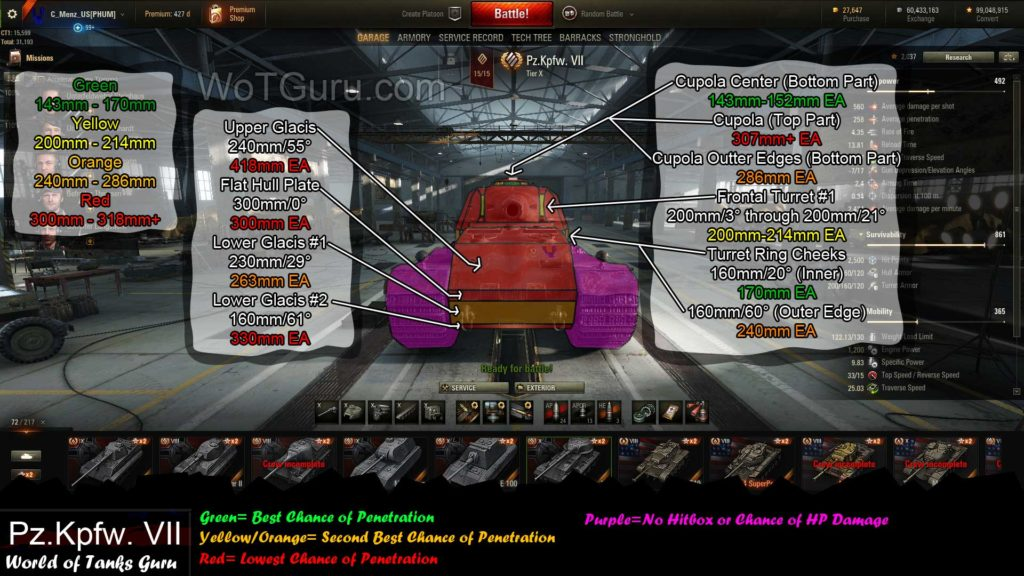 World of Tanks VK 72.01 (K) Weak Spots Frontal View