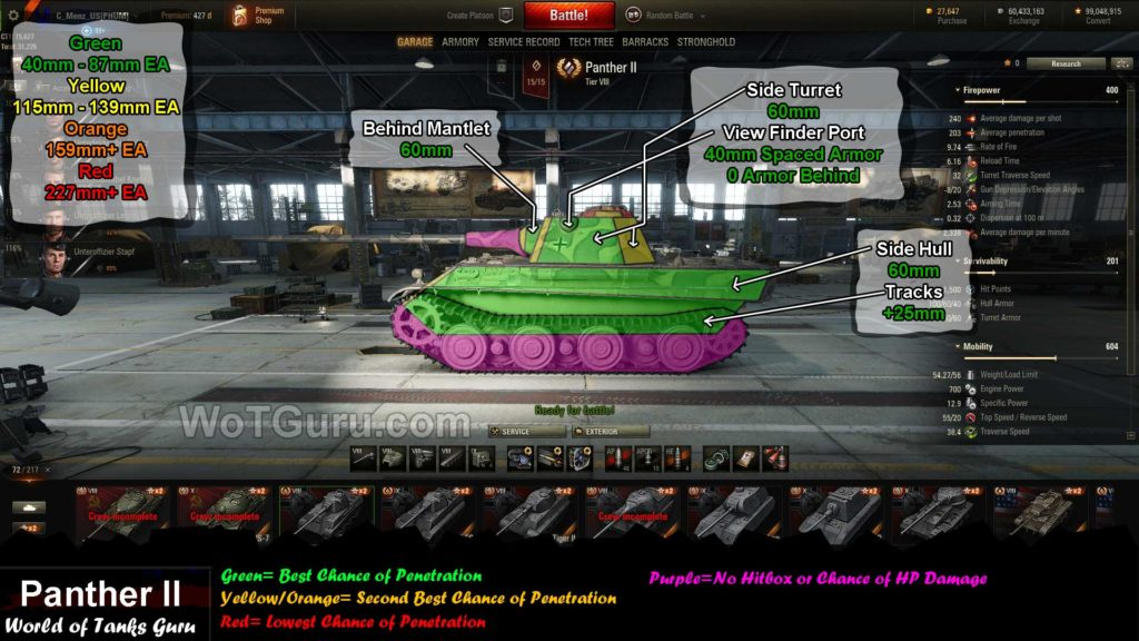 World of Tanks Panther 2 weak spots side view