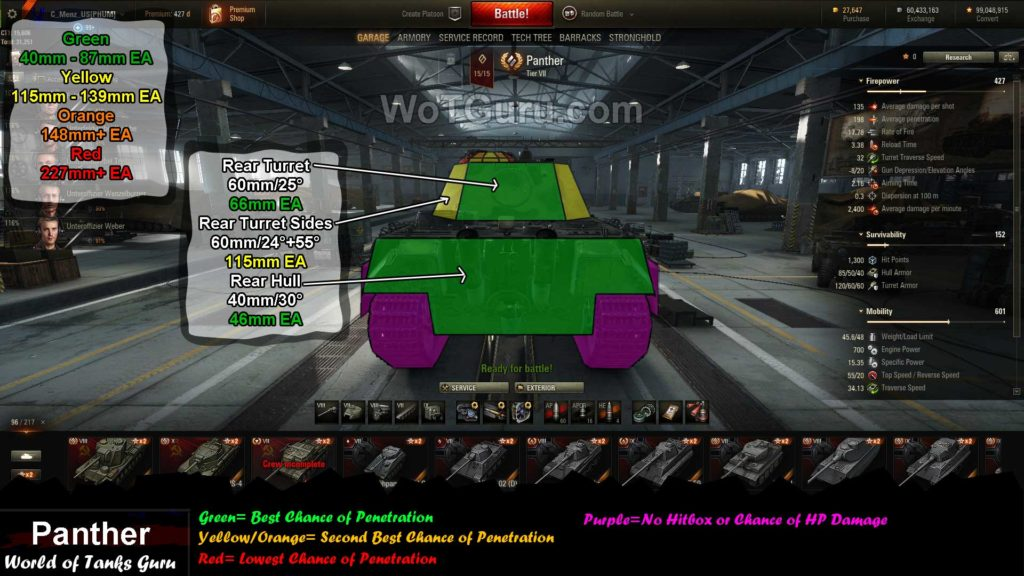 World of Tanks Panther weak spots rear view