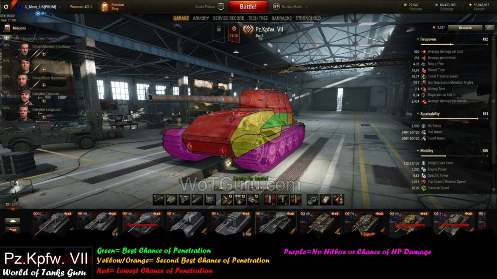 World of Tanks VK 72.01 (K) Weak Spots AngledView