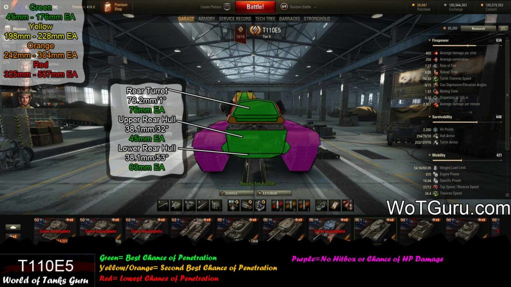 World of Tanks T110E5 Weak Spots Rear View