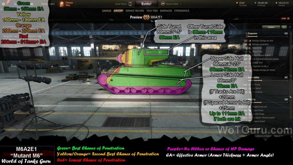 World of Tanks M6A2E1 Weak Spots