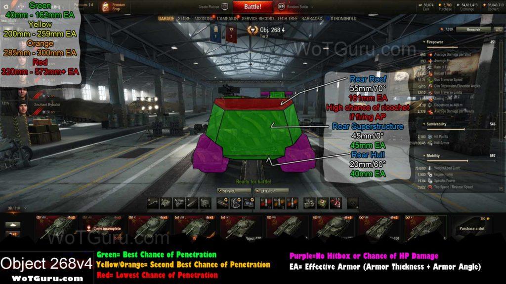 World of Tanks Object 268 Version 4 Weak Spots Rear 2